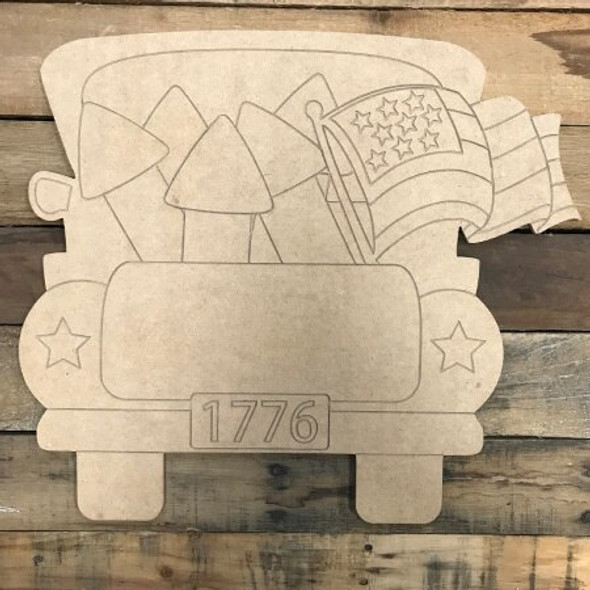 4th of July Truck DIY Unfinished Wood Cutout