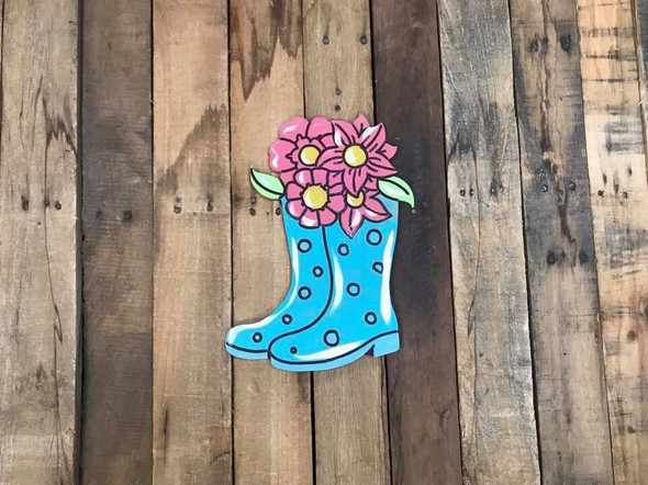 Boots with Flowers DIY Unfinished Wood Cutout Paint by Line