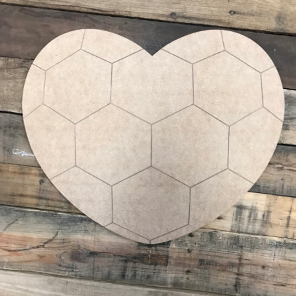 Soccer Heart, Unfinished Wooden Cutout Craft, Paint by Line