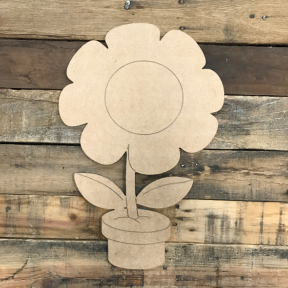Flower in Pot, Unfinished Wooden Cutout Craft, Paint by Line