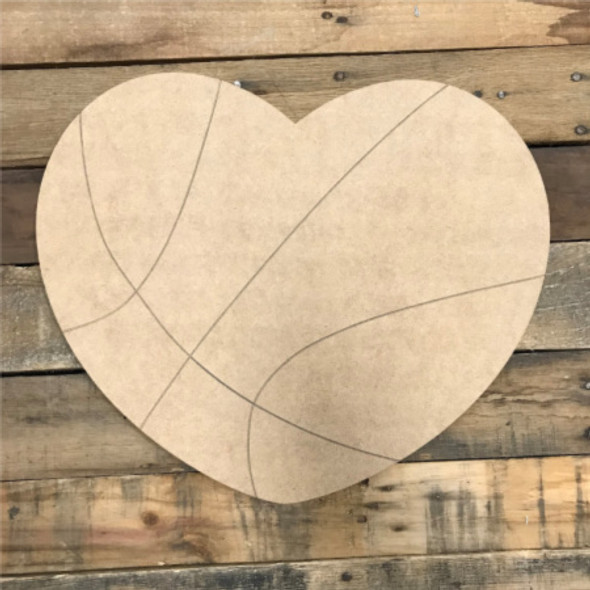 Basketball Heart, Unfinished Wooden Cutout Craft, Paint by Line