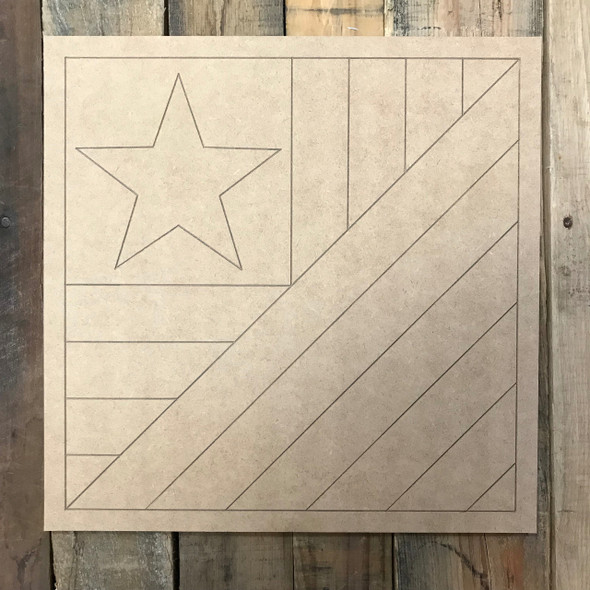Quilt Boho Pattern 9 American Flag DIY, Unfinished Wood Cutout, Paint by Line