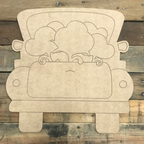 Truck with Cotton, Unfinished Wooden Cutout Craft, Paint by Line
