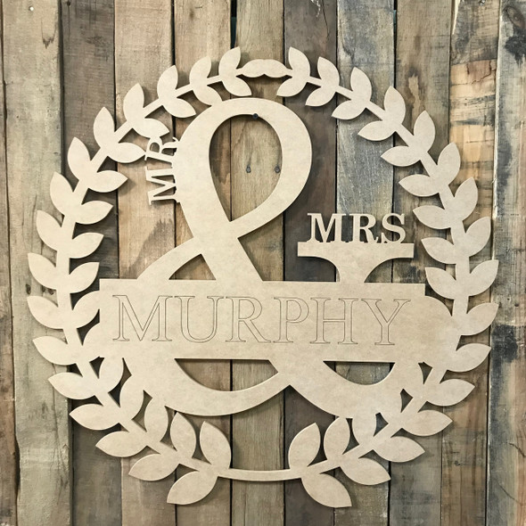 Custom Engraved Name Roman Wreath - Mr & Mrs 2, Unfinished Cutout