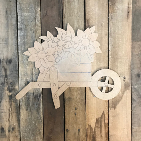 Wheel barrow with Flowers, Unfinished Wood Cutout, Paint by Line