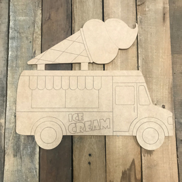 Ice Cream Truck with Cone, Unfinished Wood Cutout, Paint by Line