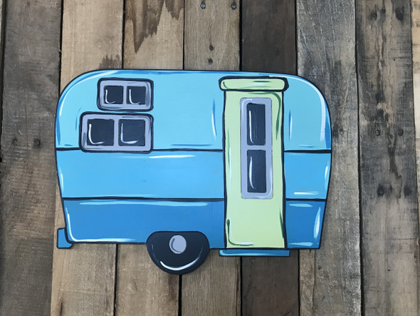 Square Camper, Unfinished Wooden Cutout, Paint by Line