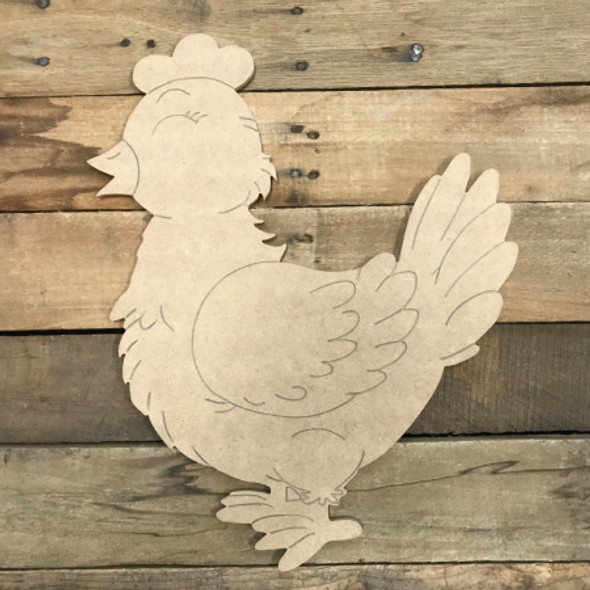 Little Hen, Unfinished Wooden Cutout, Paint by Line