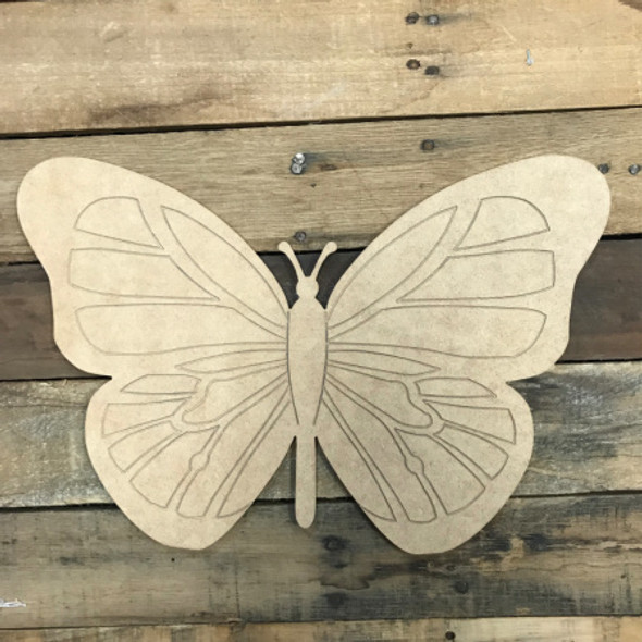 Butterfly, Unfinished Wooden Cutout, Paint by Line