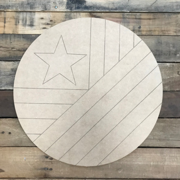 American Flag Circle Quilt Pattern 9 DIY, Unfinished Wood Cutout