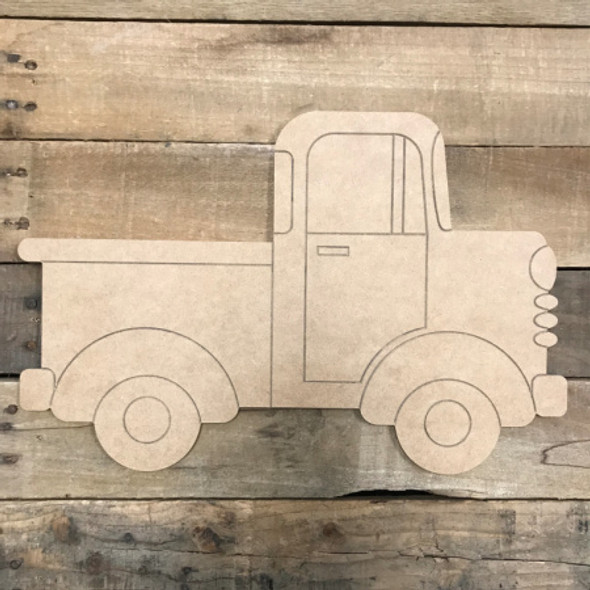 Old style Truck, Unfinished Wooden Cutout Craft, Paint by Line