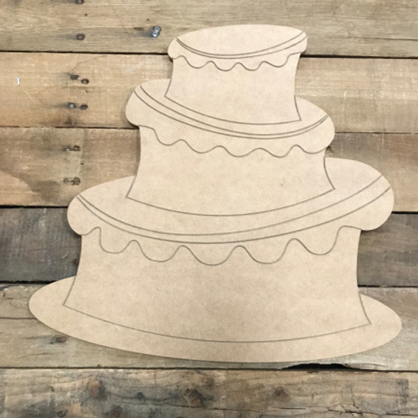 3 Layer Cake, Unfinished Wooden Cutout Craft, Paint by Line