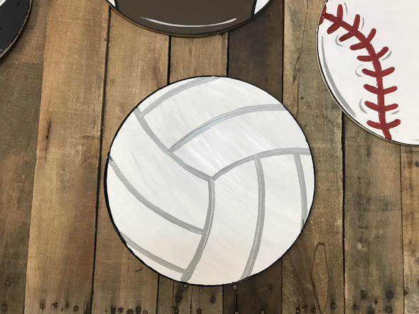 Volleyball, Unfinished Wooden Cutout Craft, Paint by Line