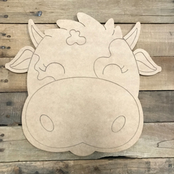 Cow, Unfinished Wooden Cutout Craft, Paint by Line