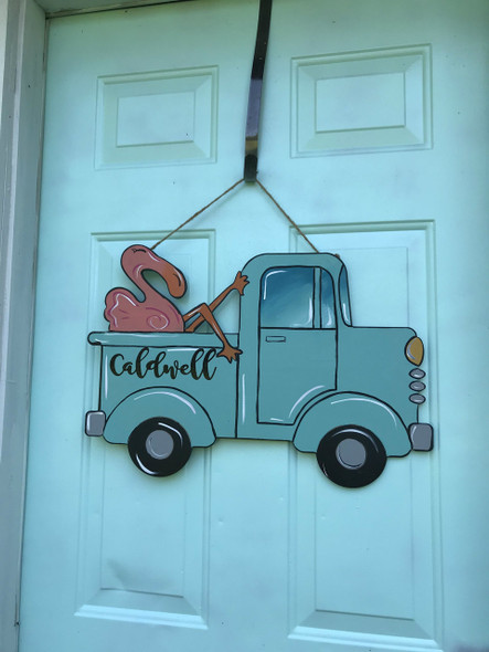 Truck with Flamingo, Unfinished Wooden Cutout Craft, Paint by Line