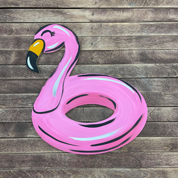 Flamingo Floaty, Unfinished Wooden Cutout Craft, Paint by Line