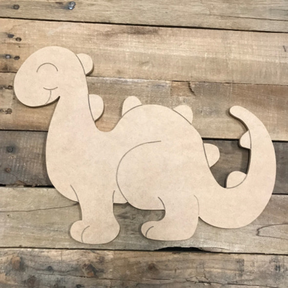 Dinosaur, Unfinished Wooden Cutout Craft, Paint by Line