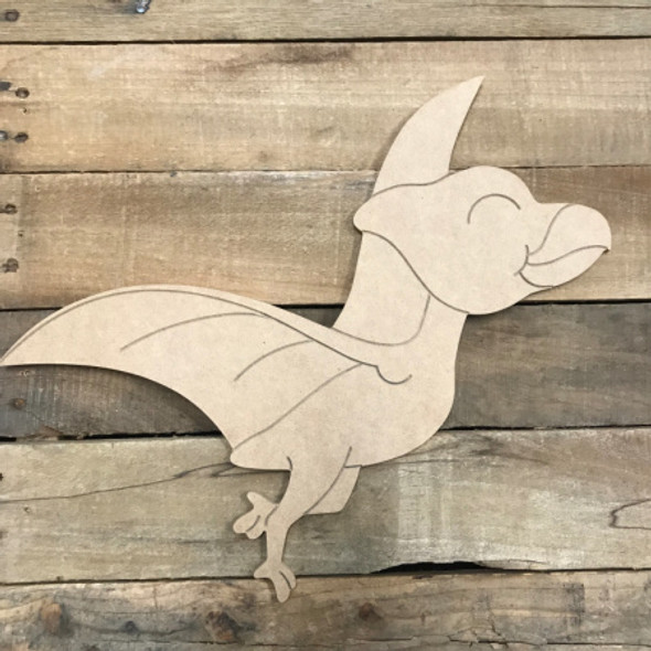 Flying Dinosaur, Unfinished Wooden Cutout Craft, Paint by Line