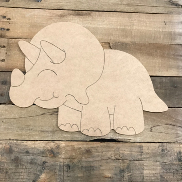 Fat Dinosaur, Unfinished Wooden Cutout Craft, Paint by Line
