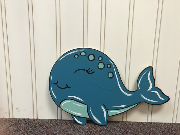Whale, Unfinished Wooden Cutout Craft, Paint by Line