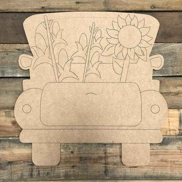 Sunflower and Corn Truck, Unfinished Wood Cutout, Paint by Line