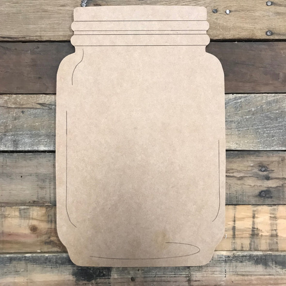 Plain Mason Jar, Unfinished Wooden Cutout Craft, Paint by Line