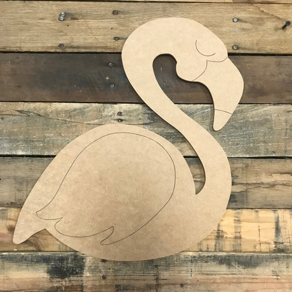 Flamingo, Unfinished Wooden Cutout Craft, Paint by Line