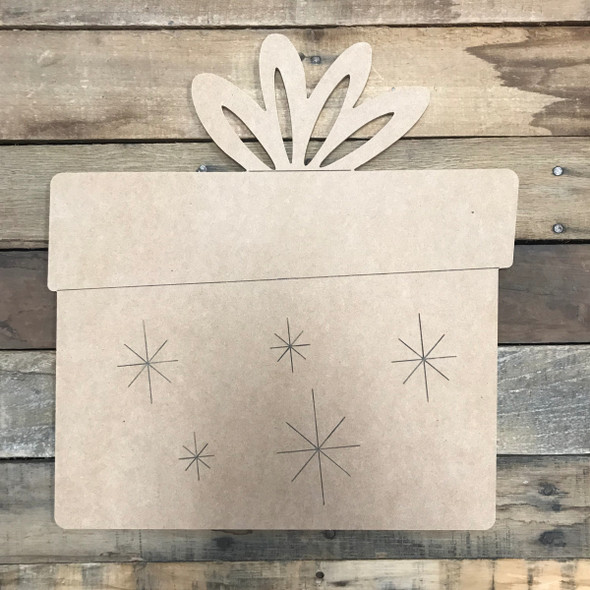 Christmas Present with Stars, Unfinished Wooden Craft, Paint by Line