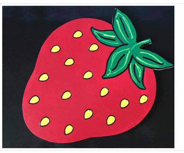 Strawberry, Unfinished Wooden Craft, Paint by Line