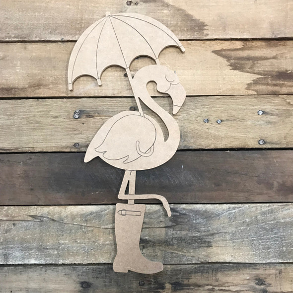 Flamingo with Umbrella and Boot, Unfinished Wooden Craft, Paint by Line