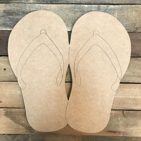 Flip Flops, Unfinished Wooden Craft, Paint by Line