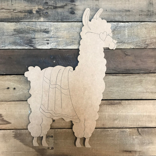Llama/Alpaca with Beach Towel, Unfinished Wooden Craft, Paint by Line