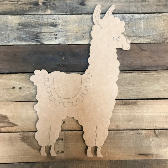 Llama/Alpaca with Saddle, Unfinished Wooden Craft, Paint by Line
