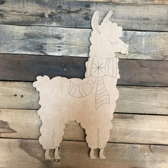 Llama/Alpaca with Scarf, Unfinished Wooden Craft, Paint by Line