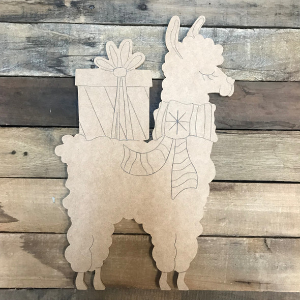 Llama/Alpaca with Present, Unfinished Wooden Craft, Paint by Line