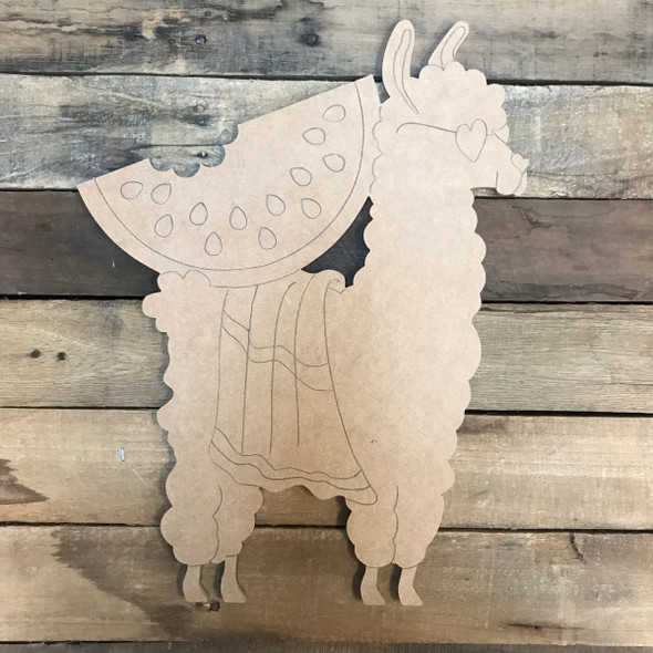 Llama/Alpaca with Watermelon, Unfinished Wooden Craft, Paint by Line