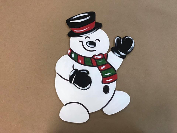 Snowman 2, Unfinished Wood Cutout, Paint by Line