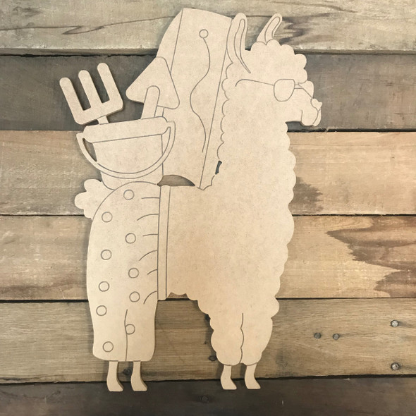 Llama with Beach 2, Unfinished Wood Cutout, Paint by Line