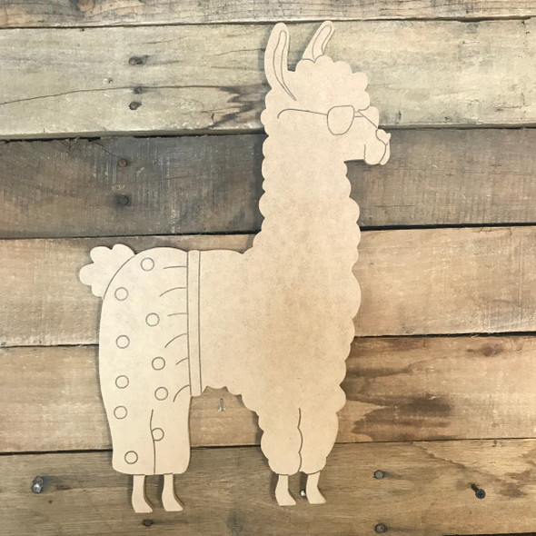 Llama with Shorts, Unfinished Wooden Craft, Paint by Line