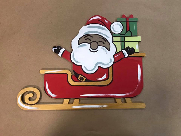Santa in Sleigh, Unfinished Wooden Craft, Paint by Line