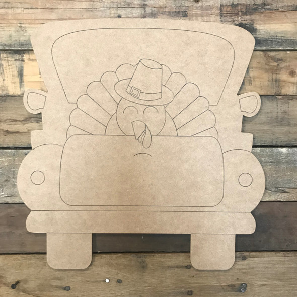 Turkey Truck, Unfinished Wooden Craft, Paint by Line