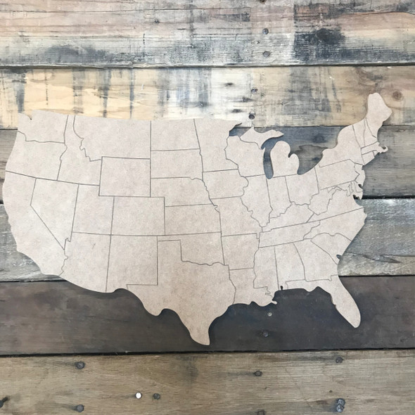 United States, Unfinished Wood Cutout, Paint by Line