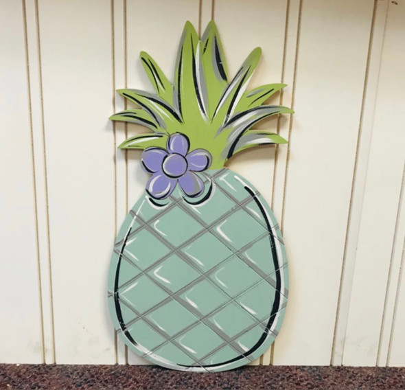 Pineapple with Flower, Unfinished Wood Cutout, Paint by Line