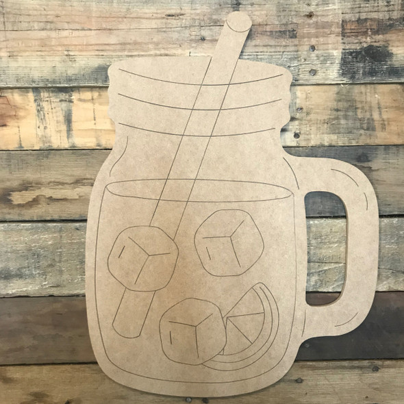 Mason Jar with Ice and Straw, Unfinished Wood Cutout, Paint by Line