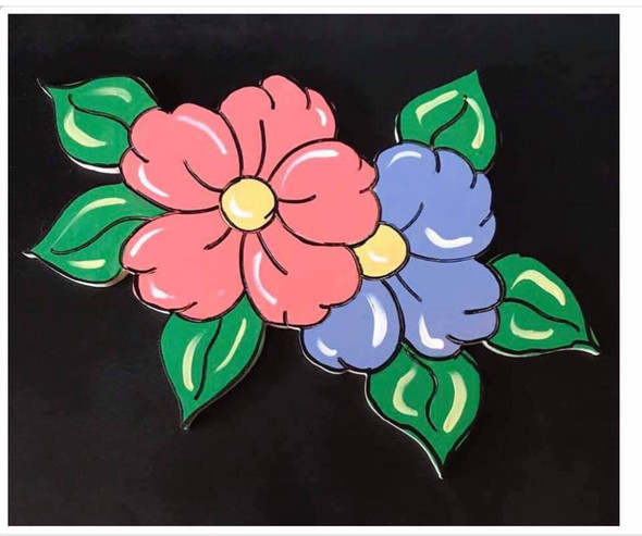 Two Flowers, Unfinished Wooden Craft, Paint by Line