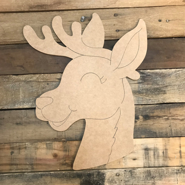 Reindeer, Unfinished Wooden Craft, Paint by Line
