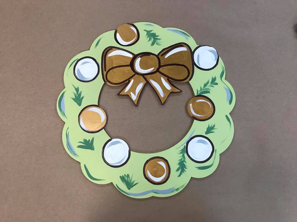 Christmas Wreath, Unfinished Wooden Craft, Paint by Line