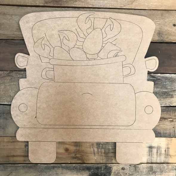 Crawfish Boil Truck, Unfinished Wood Cutout, Paint by Line