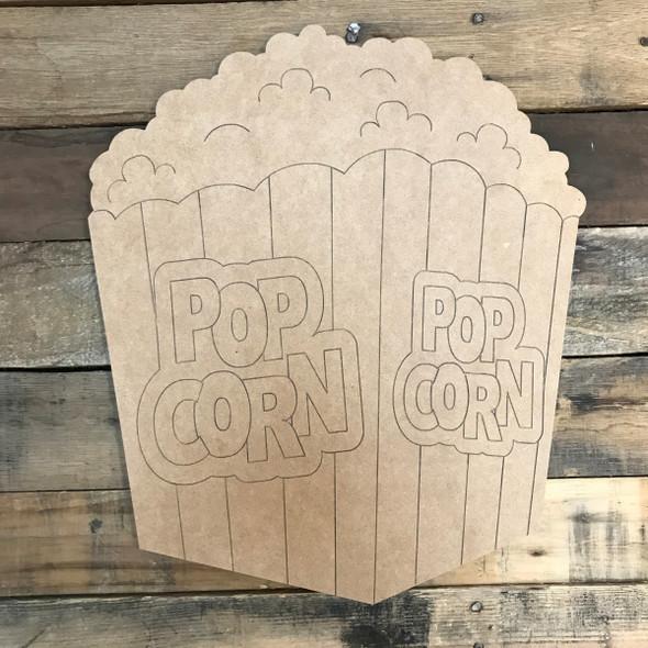 Pop Corn, Unfinished Wood Cutout, Paint by Line