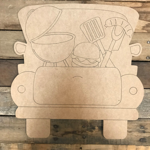 Grill Truck, Unfinished Wood Cutout, Paint by Line
